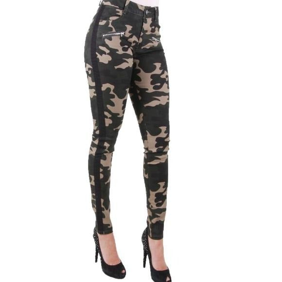 Camo Army Green Camoflauge Stretch Jeans