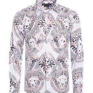 Pavini Designer Print White Gold Mens Dress Shirt