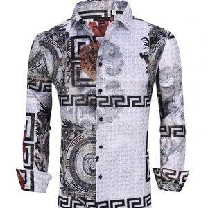 Designer Men's Button Up Long Sleeve Dress Shirt