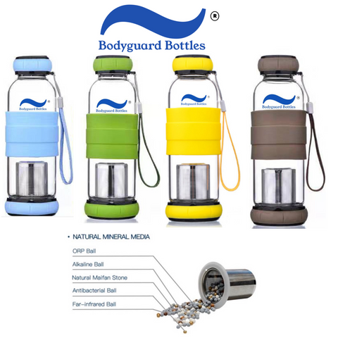 Four Bodyguard Bottles in different colors lined up above a diagram labelling the different ceramic beads in the infuser.