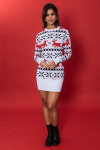 Red and White Reindeer Sweater Dress