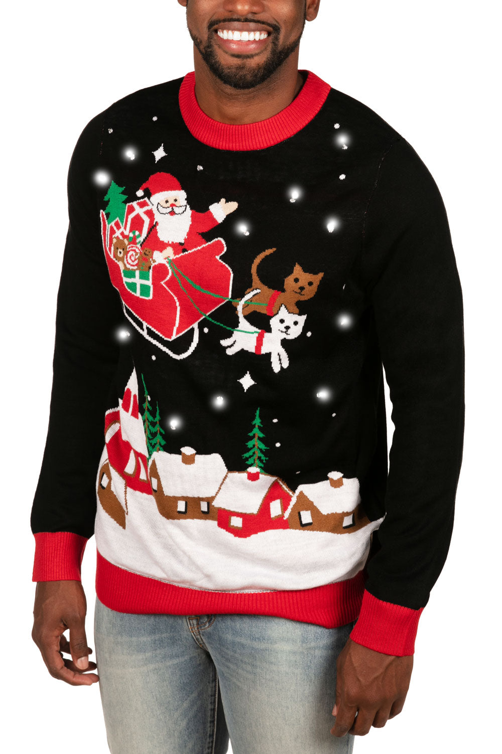 Meowy Christmas Sleigh LED Sweater