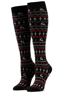Red and Black Fair Isle Knee Socks