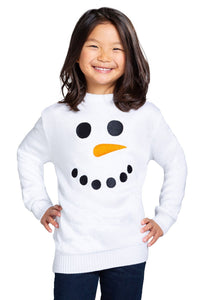 Girls Snowman Face Sweater