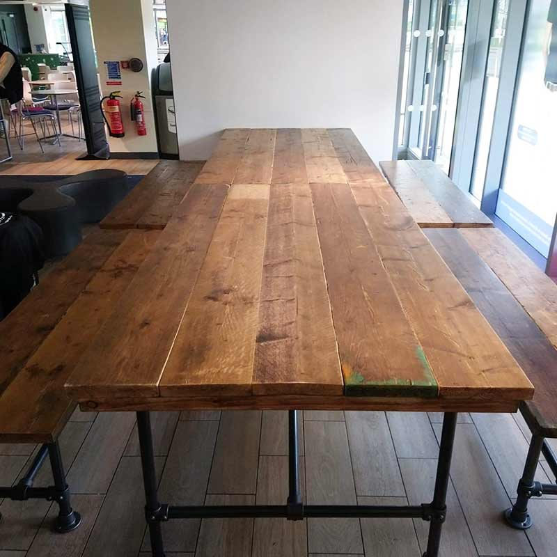High Table | Reclaimed Timber | Dark Grey Steel Legs | 5 Planks