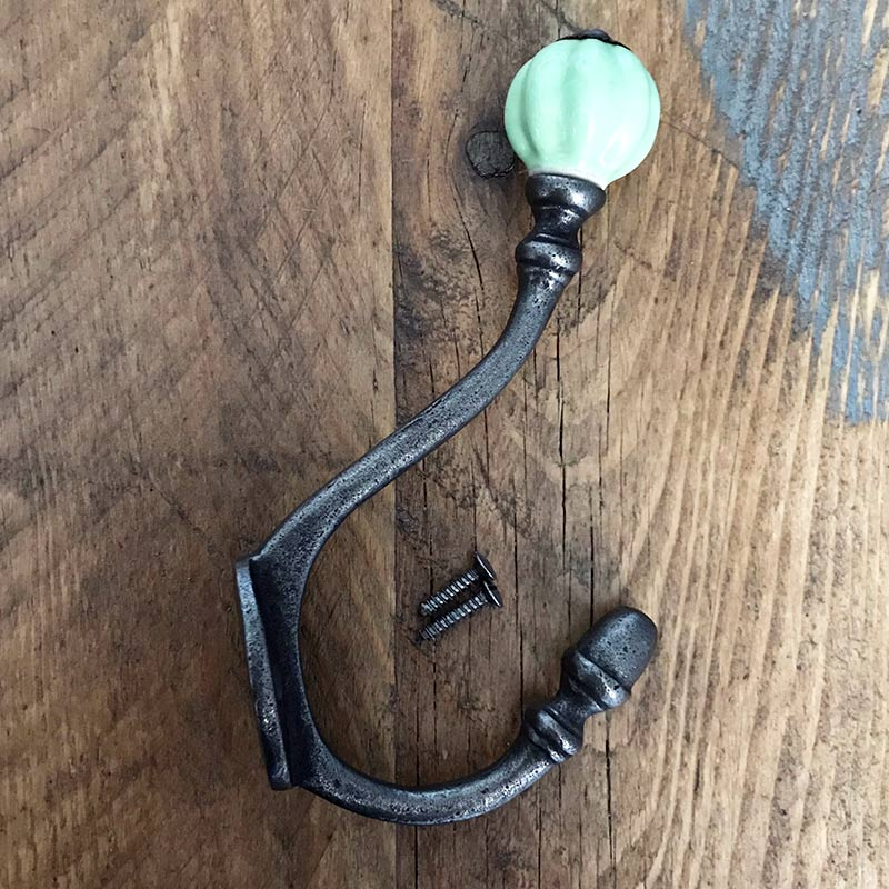 Cast Iron Coat Hook | Ceramic | Aqua