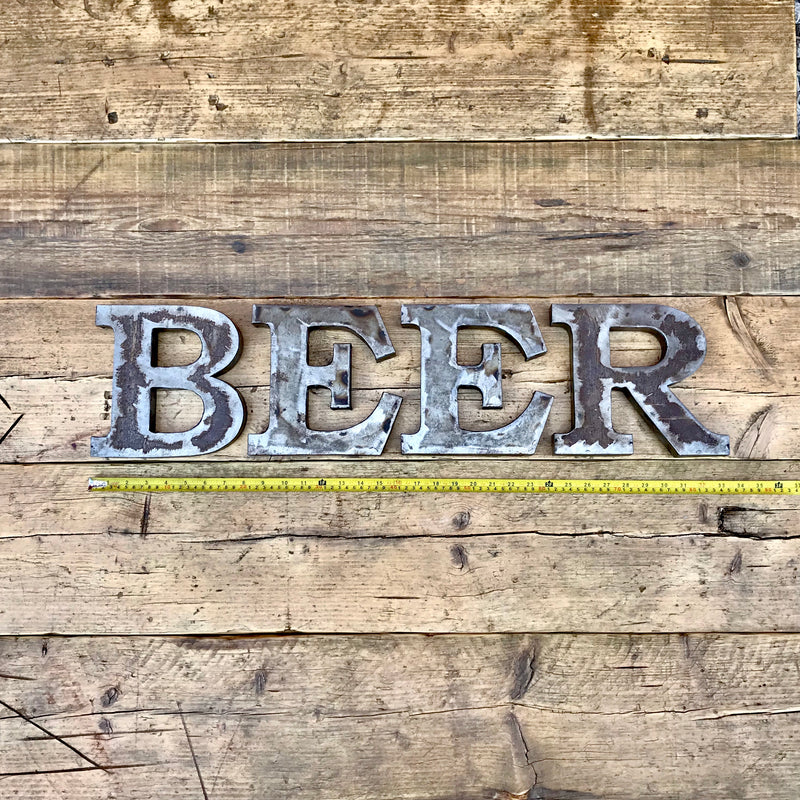 Steel Beer Sign