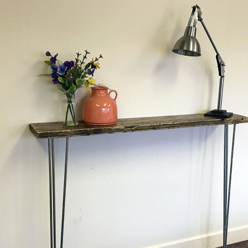 Narrow Console Table With Coated Hairpin Legs | Sustainable Furniture