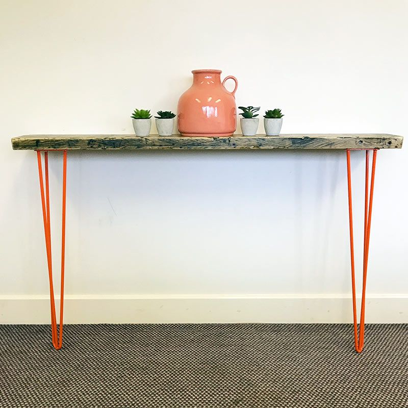 orange console table
