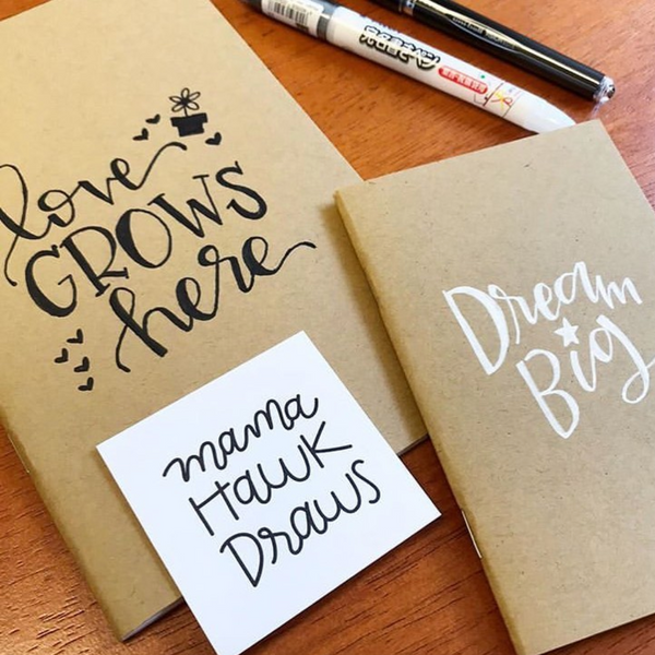 Hand Lettering on Kraft Notebooks