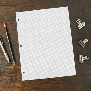 Three Hole Punched Replacement Paper, Mini Dot Grid Page, 8.5 x 11""