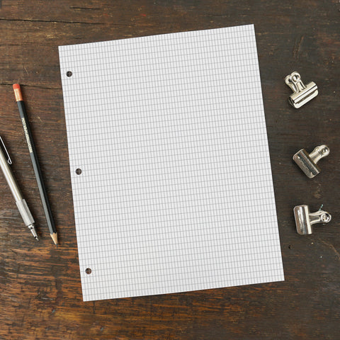 Three Hole Punched Replacement Paper, Rectangle Grid Page, 8.5 x 11""