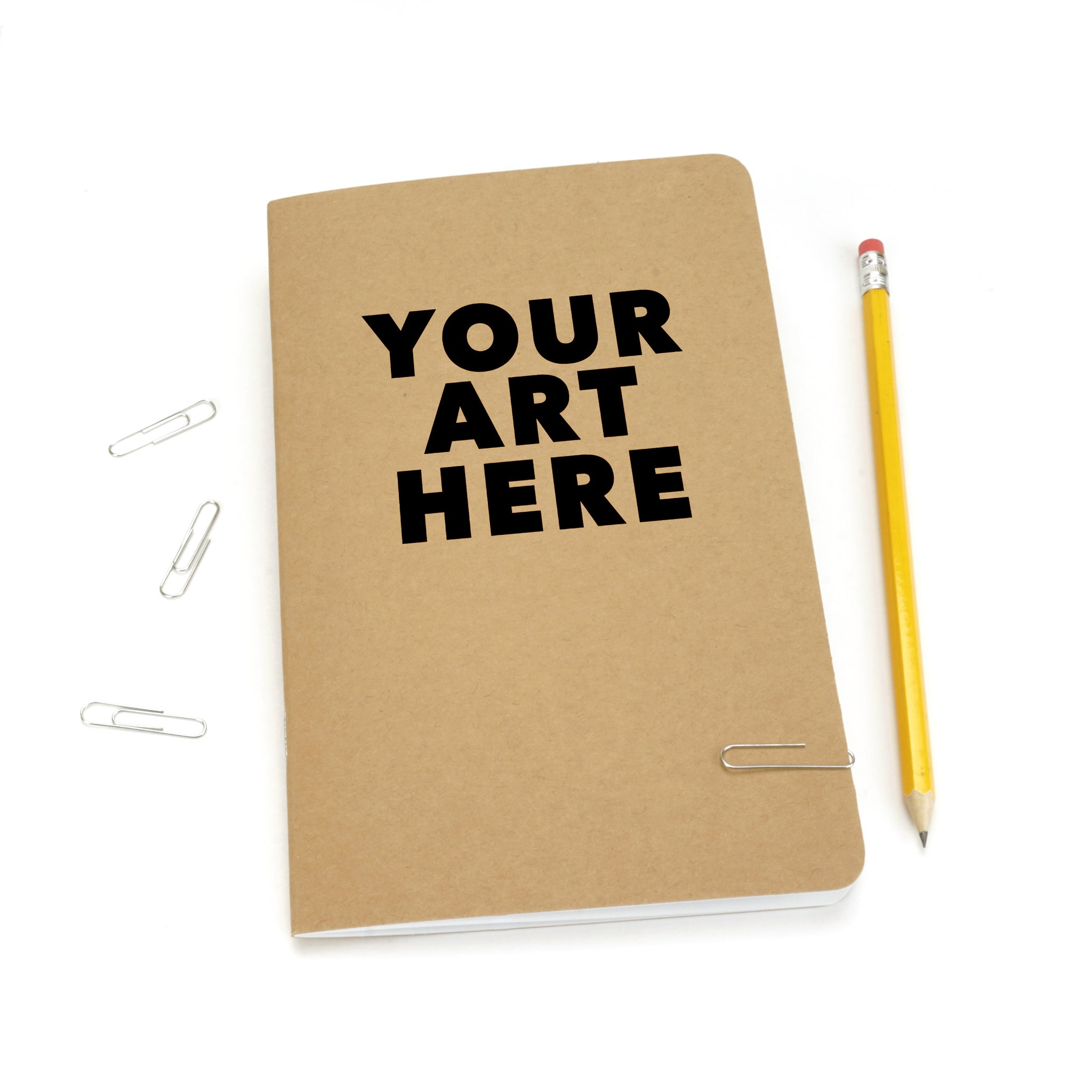 Custom Printed Kraft Cover Notebooks, Blank Pages, Black Ink Only, As Low As $1.50 Each