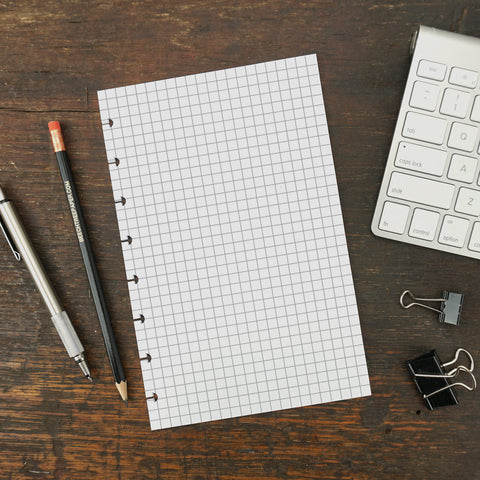 Disc-Bound Notebook Paper, Grid Paper, 5.5 x 8.5