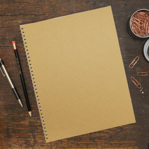 Kraft Brown, Wire-Bound Notebook, 8.5 x 11""
