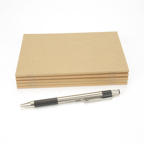 "Perfect-Stapled, Standard Kraft Brown Notebook, 72 Pages in Blank, Lined, or Dot Grid, 4"" x 6"", A6"
