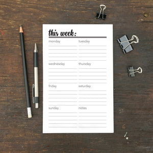 "This Week Notepad, Script, 5.5 x 8.5"", Set of 2"