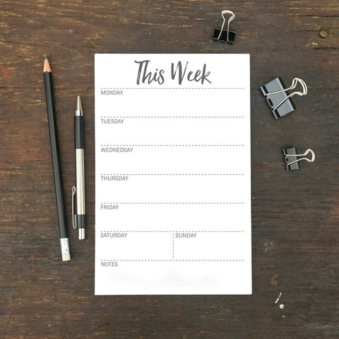 "This Week Notepad, Dotted Line, 5.5 x 8.5"", Set of 2"