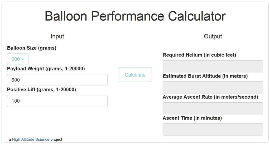 Balloon Performance Calculator – High Altitude Science