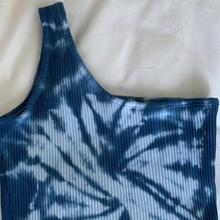 Load image into Gallery viewer, Blue Crush One Shoulder Crop Top