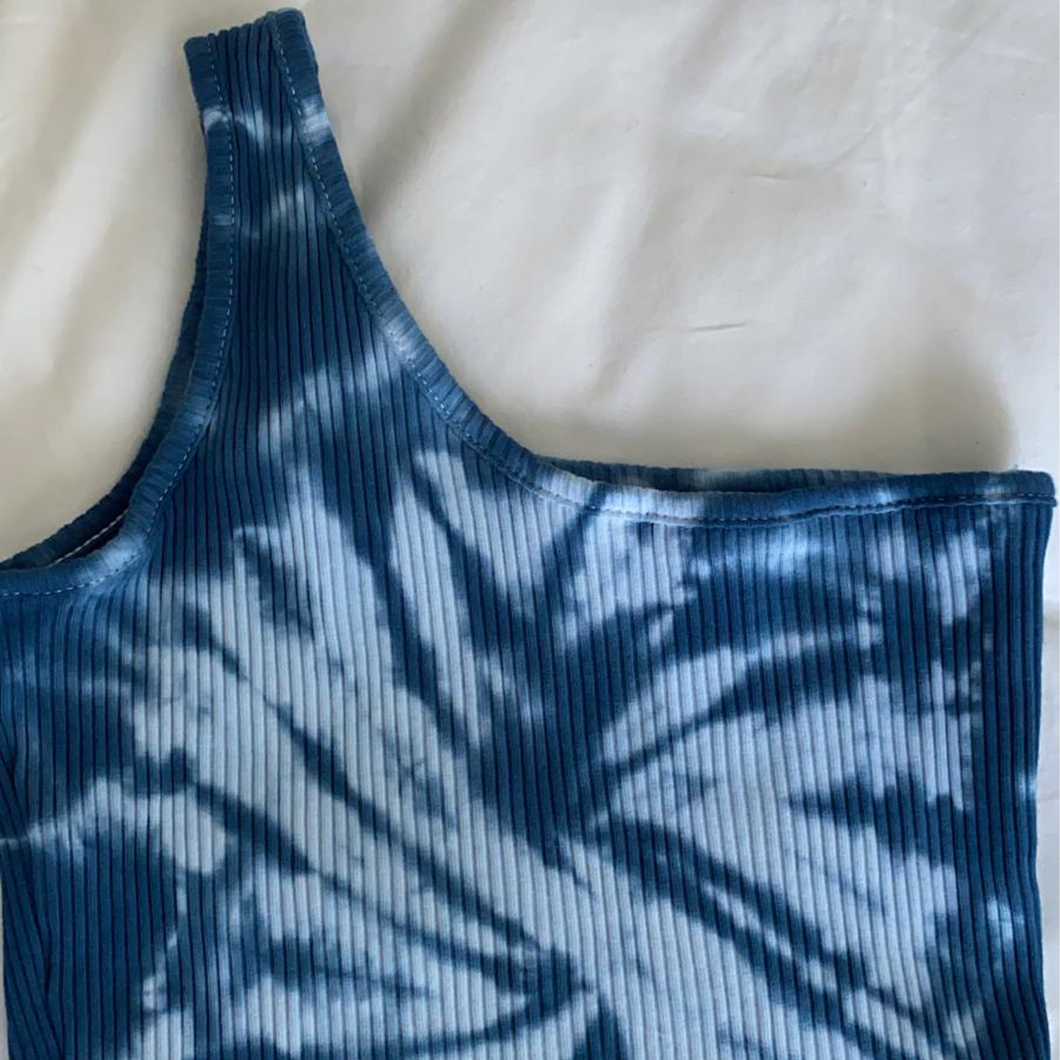 Blue Crush One Shoulder Crop Top