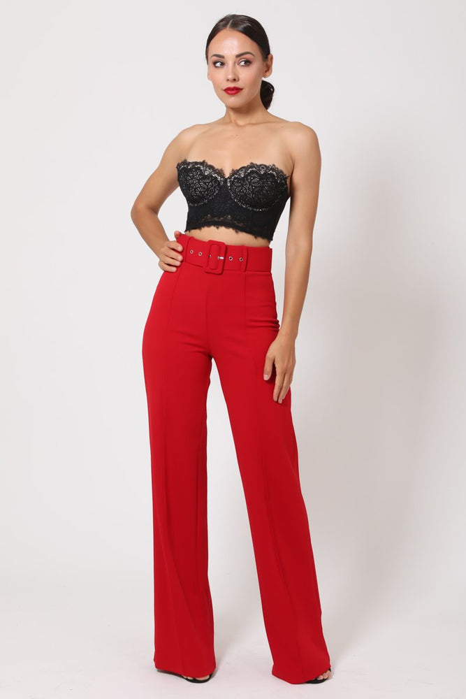 Toria High Waisted Buckle Belt Pants - Red