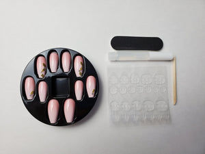 Pink Tree Leaf Coffin Nails - Chrestelle
