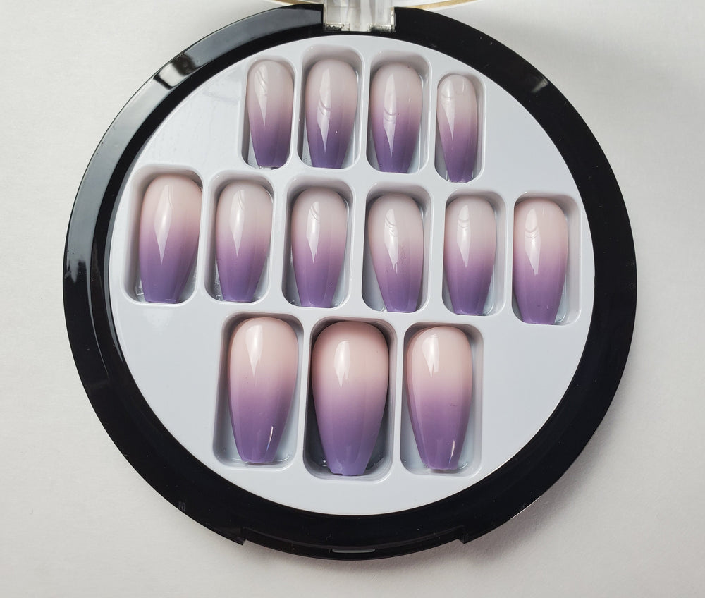 Nude With Purple Tips Coffin Nails - Chrestelle