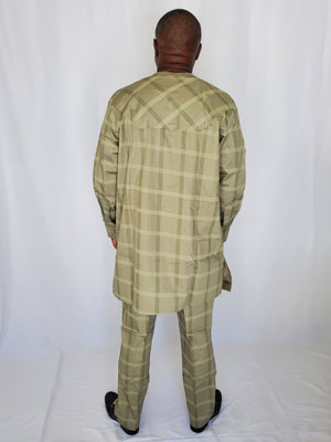 Load image into Gallery viewer, Olive Green Textured Kaftan Set - Chrestelle