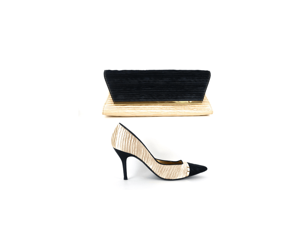 Load image into Gallery viewer, J.Renee Bloom Nude/Black Pump and Purse Set - Chrestelle