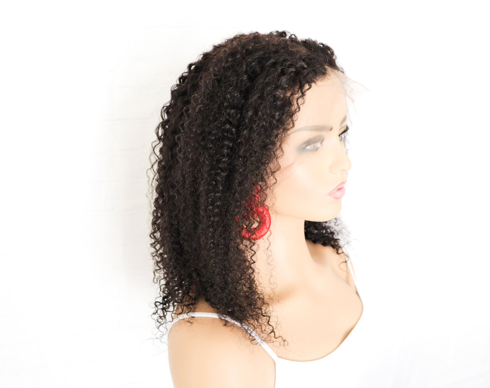 Chrestelle Human Hair Kinky Curl 13x4 Lace Front Wig - Chrestelle