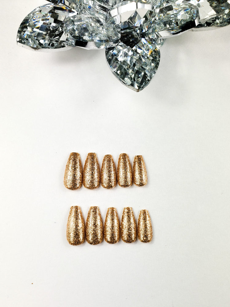 Load image into Gallery viewer, Gold Glitter Coffin Nails - Chrestelle