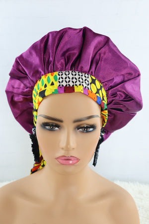 Exotic Satin Hair Bonnet with Ankara Ties - Purple - Chrestelle