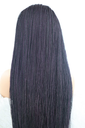 Load image into Gallery viewer, Jenny Micro Twist Braided Wig - Black / Purple - Chrestelle
