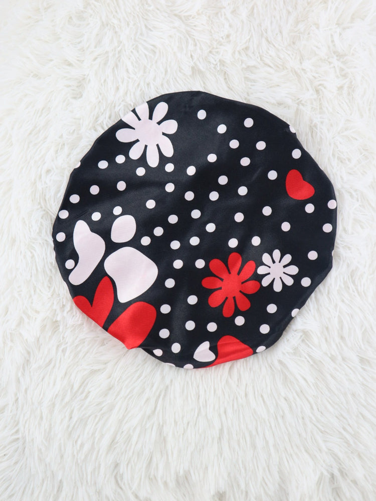 Girls Love Flower Reversible Satin Hair Bonnet