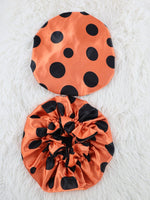Girls Orange Polkadot Reversible Satin Hair Bonnet