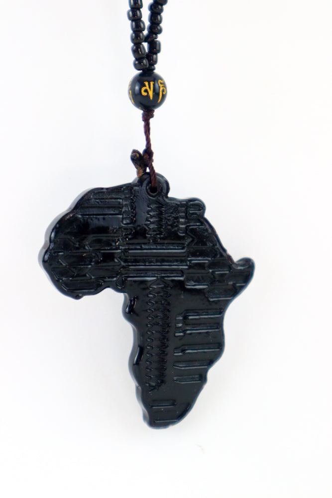 Africa Map Necklace - Black
