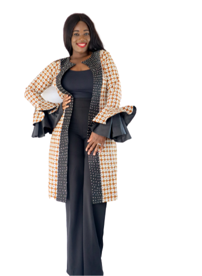 Load image into Gallery viewer, Prezi Rhinestone Long Sleeve Duster - Brown/Black - Chrestelle