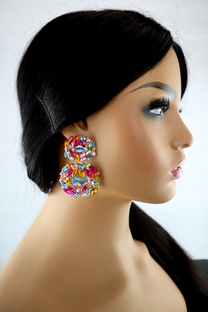 Belle Crystal Earrings - Multi - Chrestelle