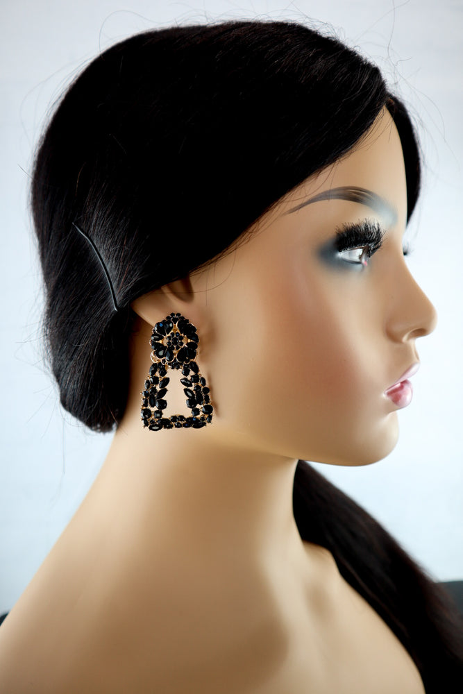 Load image into Gallery viewer, Space Crystal Earrings - Black - Chrestelle