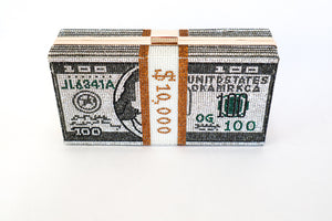 Load image into Gallery viewer, Evi Stack of Cash 10K USD Money Crystal Clutch Bag - Chrestelle