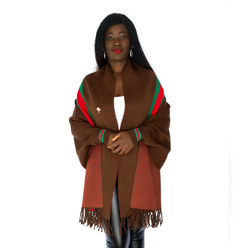 Brown Luxury Fringe Poncho With Sleeves And Pearl Brooch