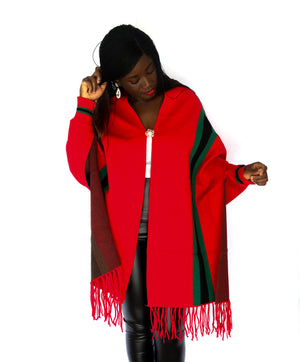 Red Luxury Fringe Poncho With Sleeves And Pearl Brooch