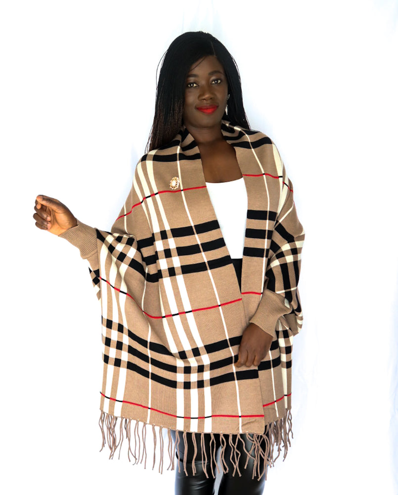 Plaid Luxury Fringe Poncho With Sleeves And Pearl Brooch