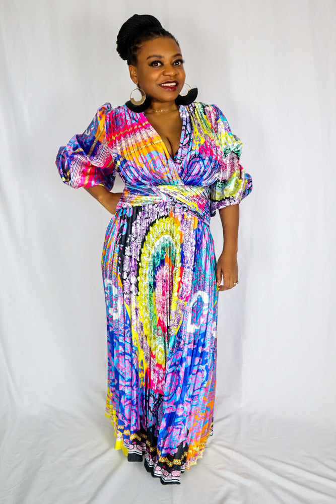 Latte Plus Size Pleated Maxi Dress