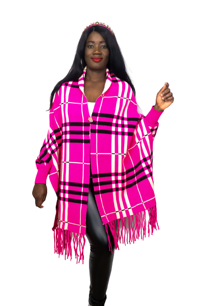 Pink Plaid Luxury Fringe Poncho With Sleeves And Pearl Brooch