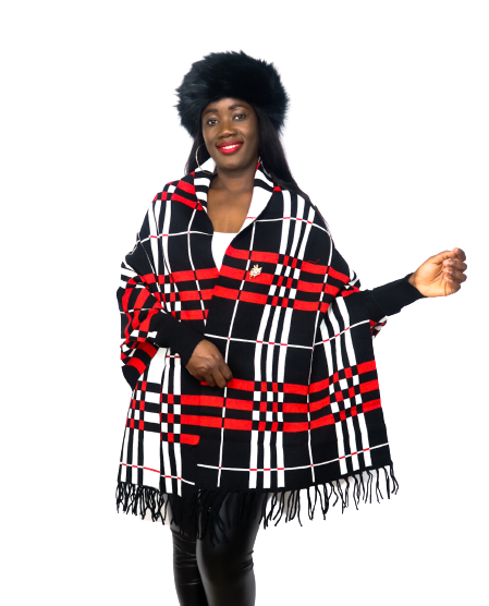 Black Plaid Luxury Fringe Poncho With Sleeves And Pearl Brooch
