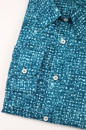 Spatial Long Sleeve Shirt - Teal - Chrestelle