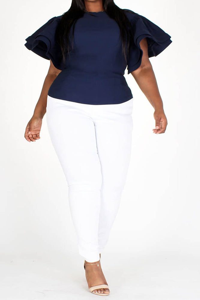 Charmile Ruffle Sleeve Top - Navy