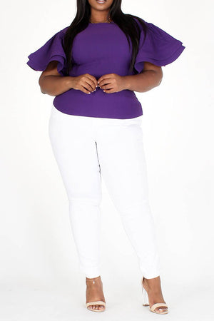 Charmile Ruffle Sleeve Top - Purple - Chrestelle